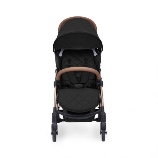 ickle bubba globe max black on rose gold stroller front on hood down