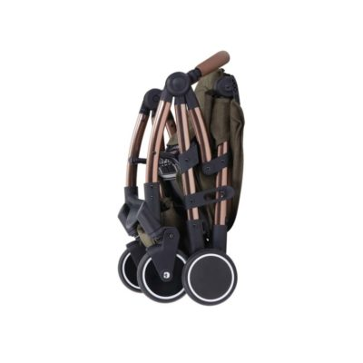 ickle bubba globe max stroller khaki on rose gold folded