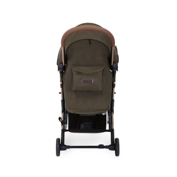 ickle bubba globe max stroller khaki on rose gold rear view