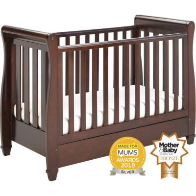 babymore eva cot bed sleigh dropside in brown
