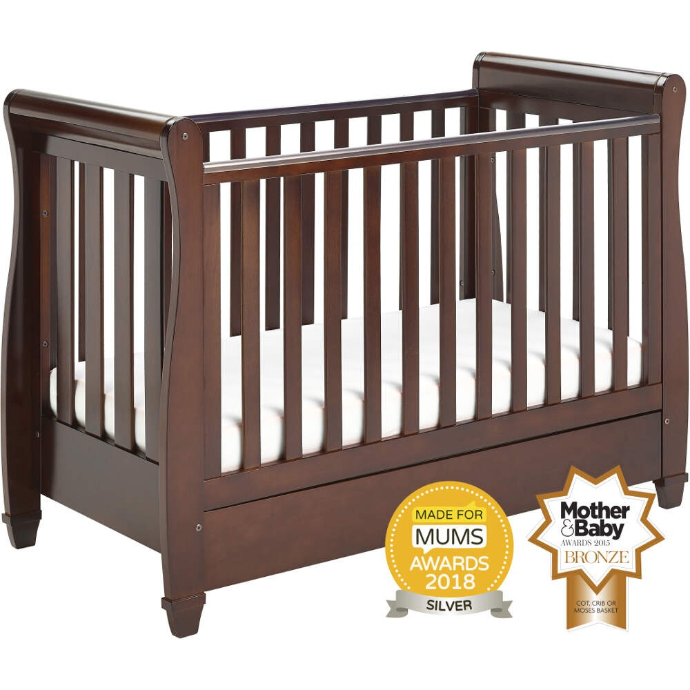 - Babymore Eva Dropside Sleigh Cot Bed - Brown - Baby And Child Store