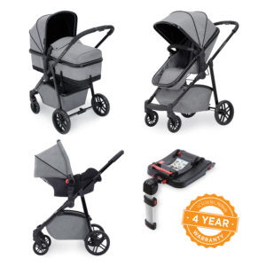 ickle bubba 3 in 1 moon travel system with isofix base space grey