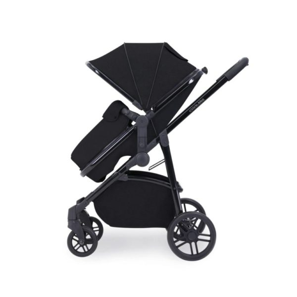 ickle bubba moon stroller side on with footmuff black