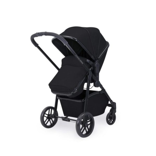 ickle bubba moon stroller with footmuff front on black