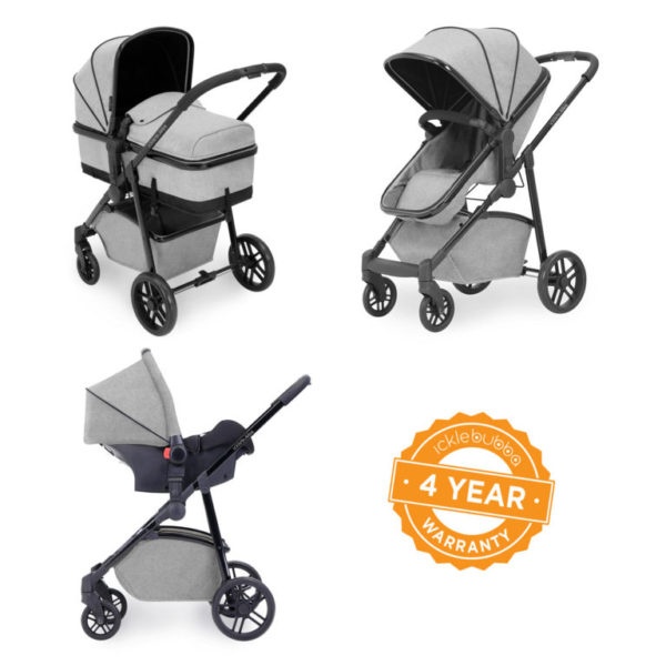 ickle bubba moon travel system silver grey 3 in 1