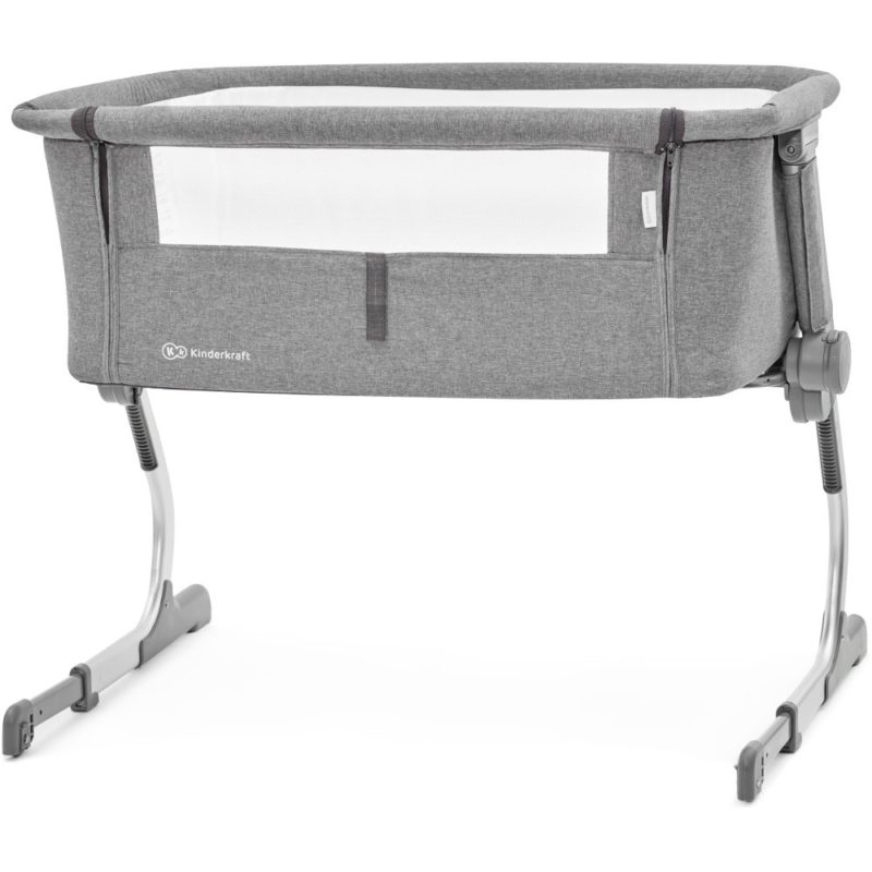 KinderKraft UNO Bedside Crib (Grey)