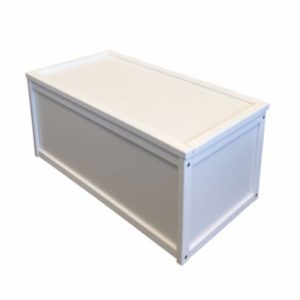 white wooden self assembly toy box