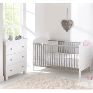 East Coast Angelina 2 Piece Nursery Room Set White Grey