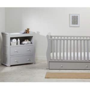 East Coast Alaska Sleigh 2 Piece Nursery Room Set with Under Drawer - Grey