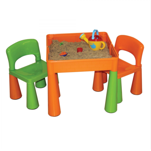 Liberty House Toys - 5 in 1 Multipurpose Activity Table & 2 Chairs - ORANGE & GREEN1