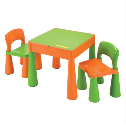 Liberty House Toys - 5 in 1 Multipurpose Activity Table & 2 Chairs - ORANGE & GREEN