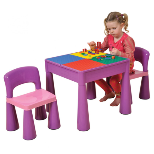 Liberty House Toys - 5 in 1 Multipurpose Activity Table & 2 Chairs - PURPLE1