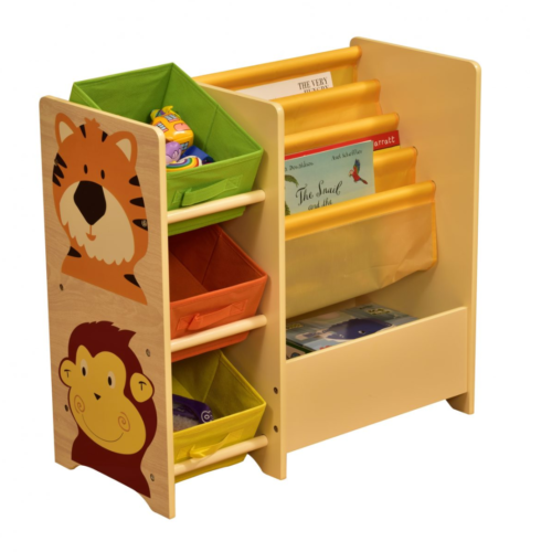JUNGLE-MAGAZINE-SHELF-WITH-3-NON-WOVEN-BINS