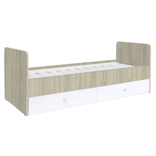 Kudl-Cotbed-Simple-1100-with-Drawer-Unit-ElmWhite-1