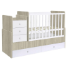 Kudl Cotbed Simple with Drawer Unit-Elm/White