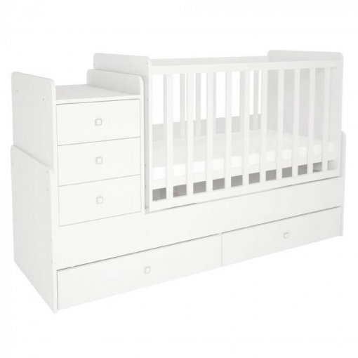 Kudl-Cotbed-Simple-1100-with-Drawer-Unit-White