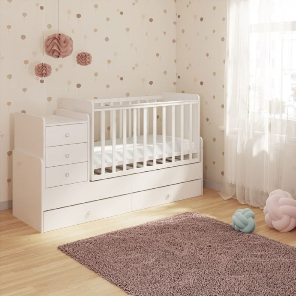 Kudl Cotbed Simple with Drawer Unit-White