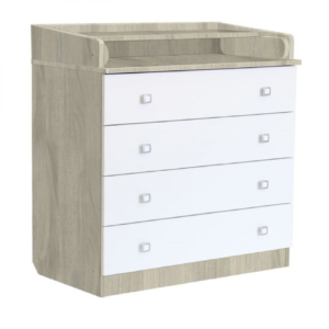 Kudl-Kids-4-Drawer-Unit-1580-With-Changing-Board-and-Storage-ElmWhite