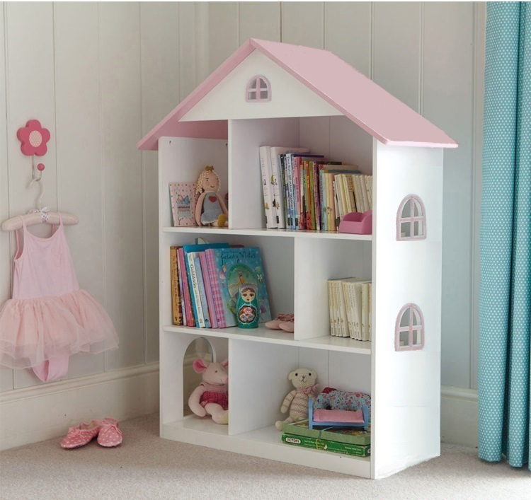 Liberty House Toys Dollhouse Bookcase with Pink Roof