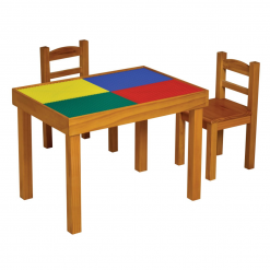Liberty House Toys -Multipurpose (Whiteboard-Blackboard-Lego top) Wooden Table & Chairs Set