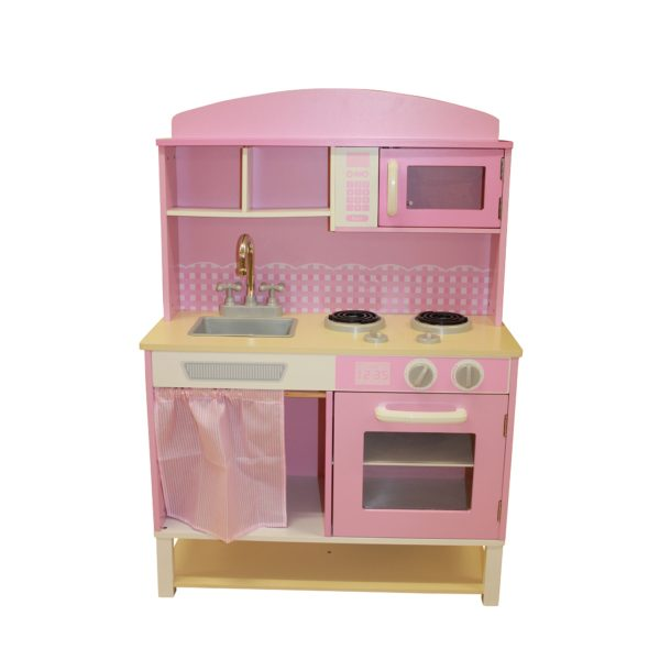 Liberty House Toys - Wooden Toy Kitchen with Microwave - Pink Gingham