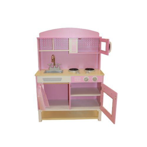 Liberty House Toys - Wooden Toy Kitchen with Microwave - Pink Gingham1