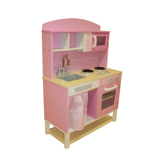Liberty House Toys - Wooden Toy Kitchen with Microwave - Pink Gingham2
