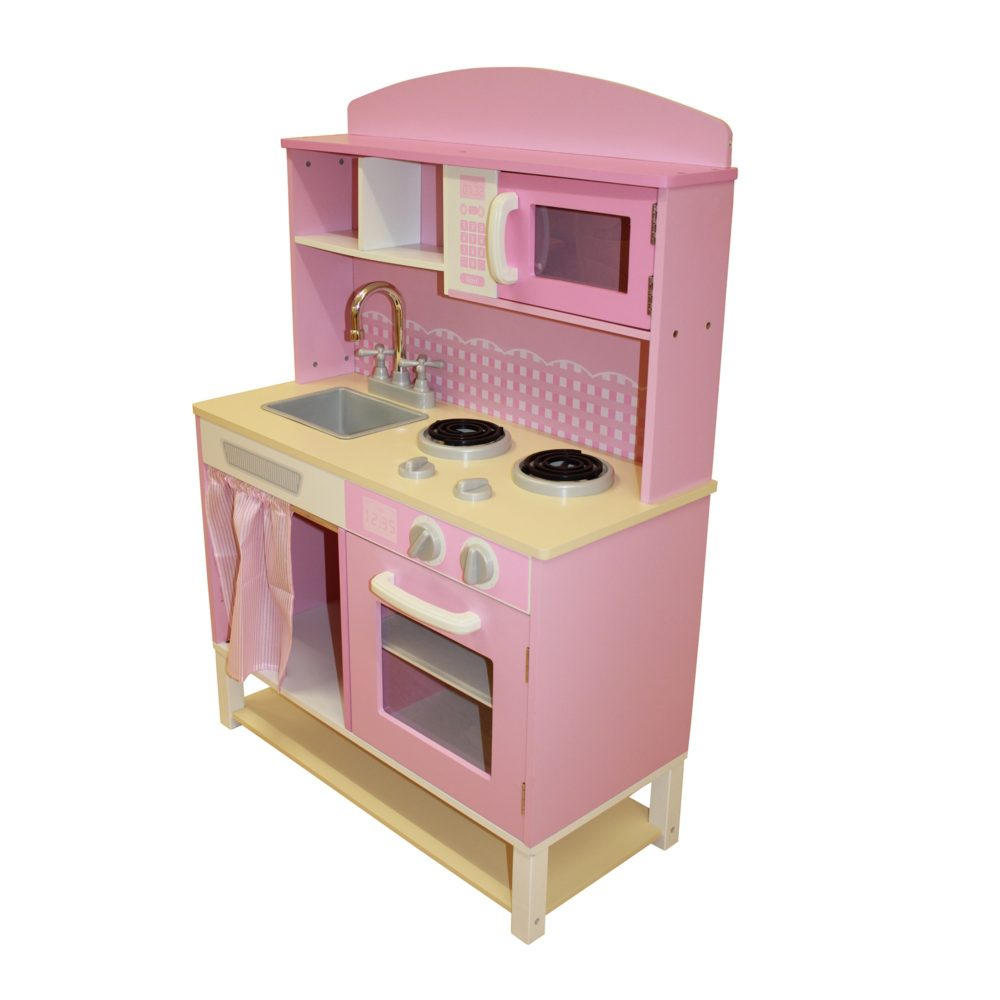 Liberty House Toys - Wooden Toy Kitchen with Microwave - Pink Gingham3