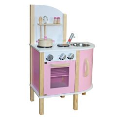 Liberty House Toys - Little Chef Contemporary Wooden Toy Kitchen - Pink - with accessories