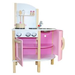 Liberty House Toys - Little Chef Contemporary Wooden Toy Kitchen - Pink - with accessories1