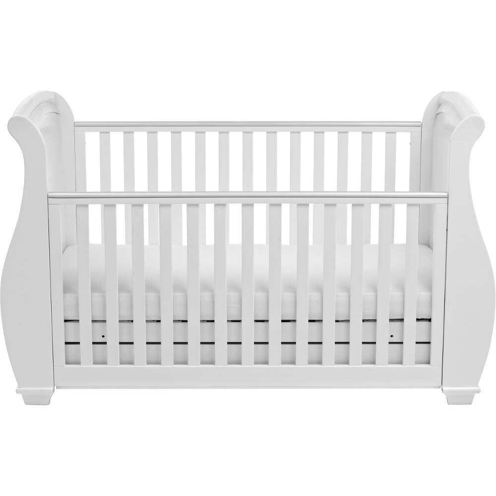 - Babymore Bel Dropside Sleigh Cot Bed And Mattress Set - White