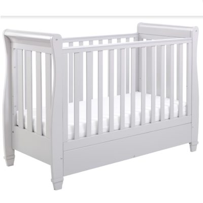 Babymore Eva Dropside Sleigh Cot Bed and Mattress Set - Grey