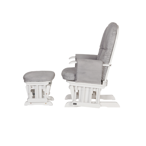 Tutti Bambini GC35 Reclining Glider Chair & Stool - White with Grey Cushions1