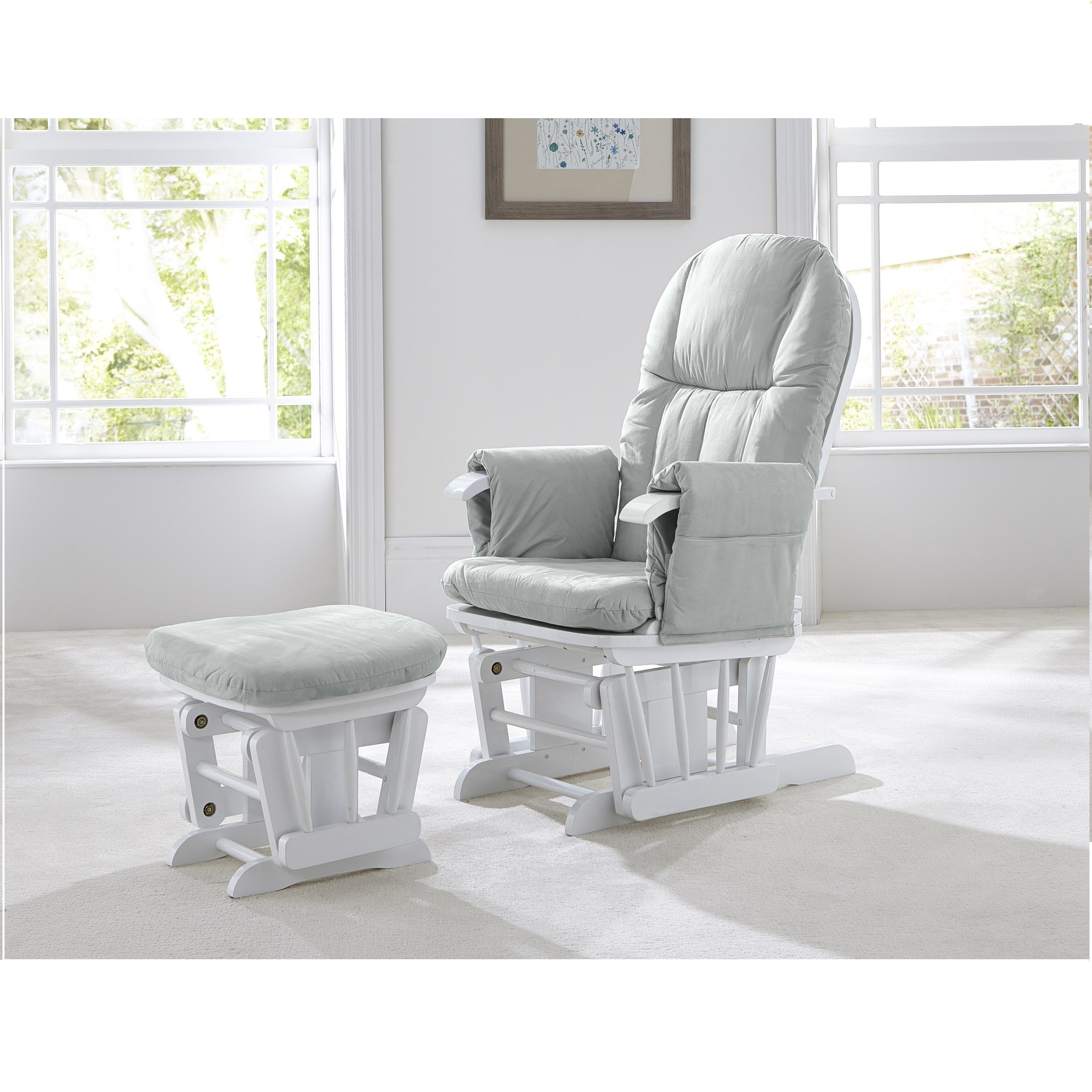 Pleasing Tutti Bambini Gc35 Reclining Glider Chair And Stool White With Grey Cushions Pabps2019 Chair Design Images Pabps2019Com