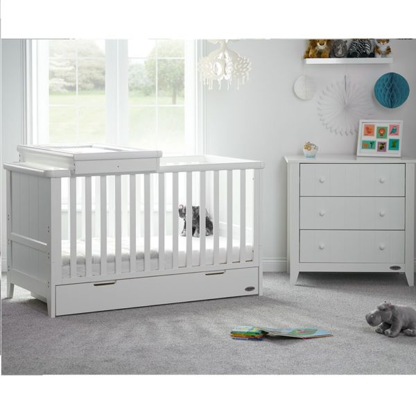 Obaby Belton 2 Piece Nursery Room Set/Cot Top Changer - White