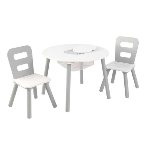 Kidkraft-Round-Storage-Table-2-Chair-Set-Gray-White