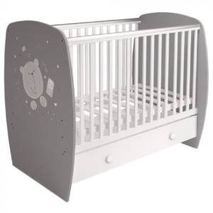 Kudl-Kids-Baby-Cot-French-710-Teddy-Print-Grey-White