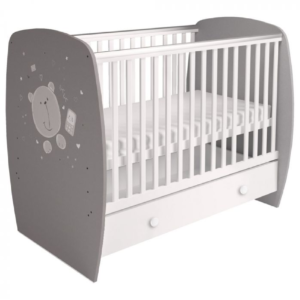 Kudl-Kids-Baby-Cot-French-710-Teddy-Print-Grey-White1