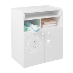 Kudl Kids Changing Board Cupboard with Storage 1270 Teddy Print - White