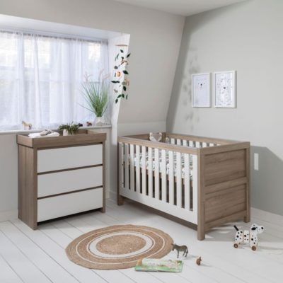 Tutti Bambini Modena 2 Piece Nursery Room Set/Mattress - White and Oak