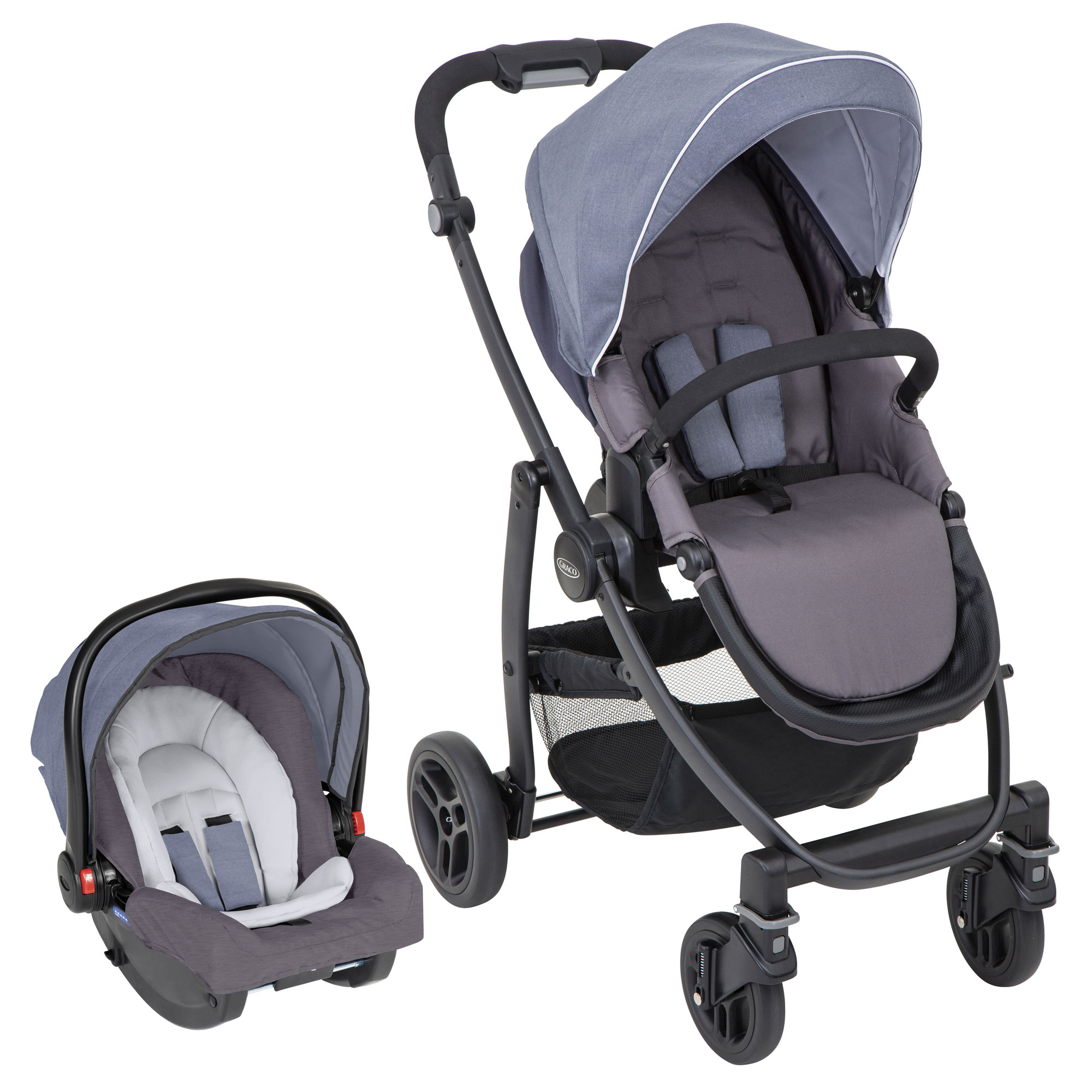 344f2c874 Graco Evo 2 in 1Travel System With Snugride-Mineral - Baby and Child ...