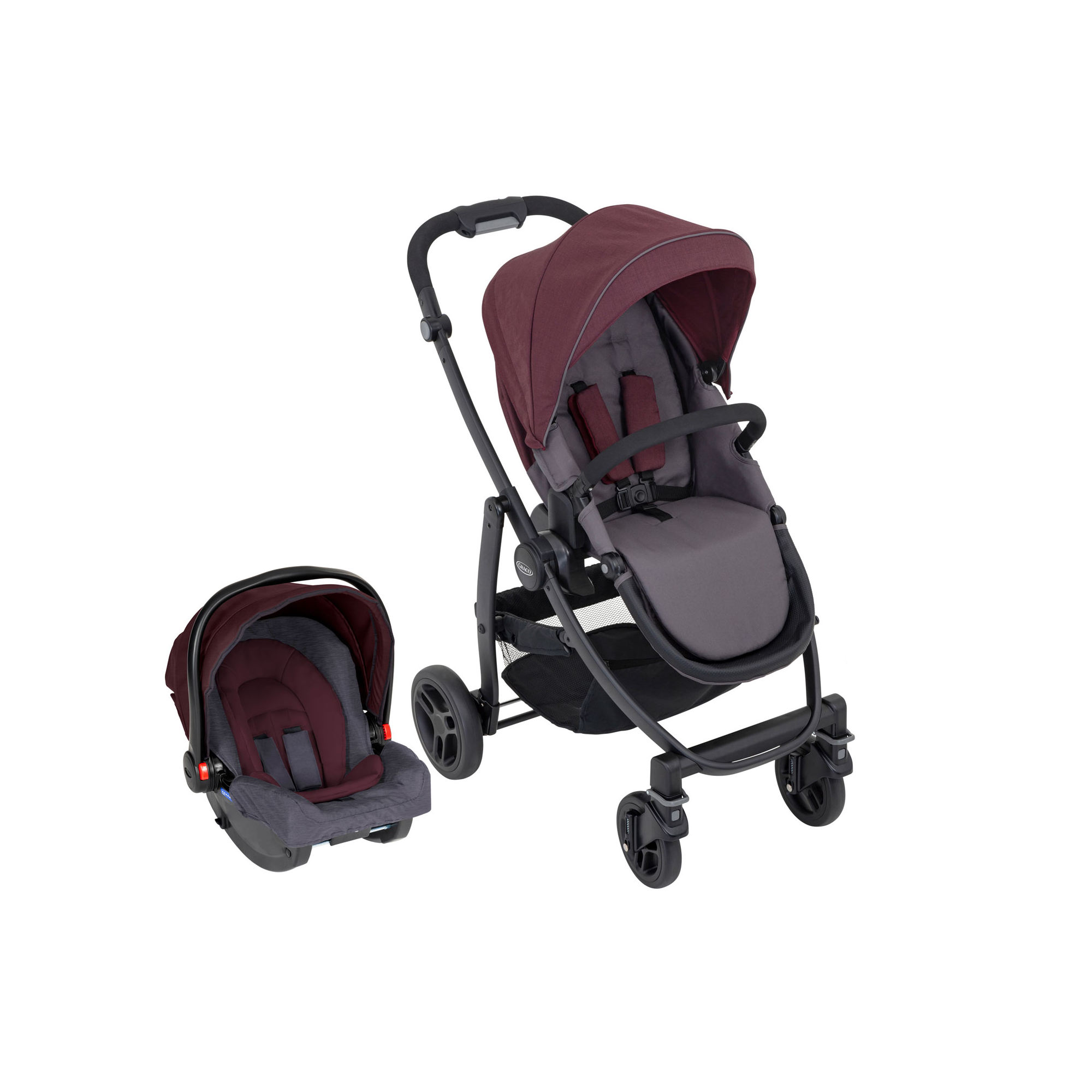 e21ae591c Graco Evo 2 in 1Travel System With Snugride-Crimson - Baby and Child ...