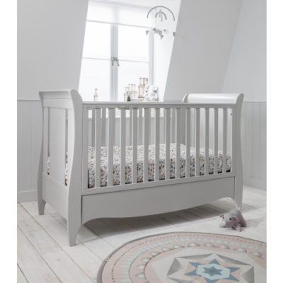 Tutti Bambini Roma Sleigh Cot Bed with Drawer - Dove Grey