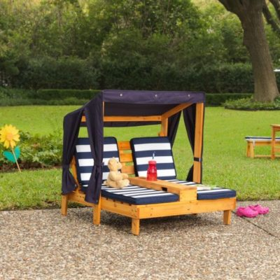 Kidkraft Honey and Navy Double Chaise Lounge