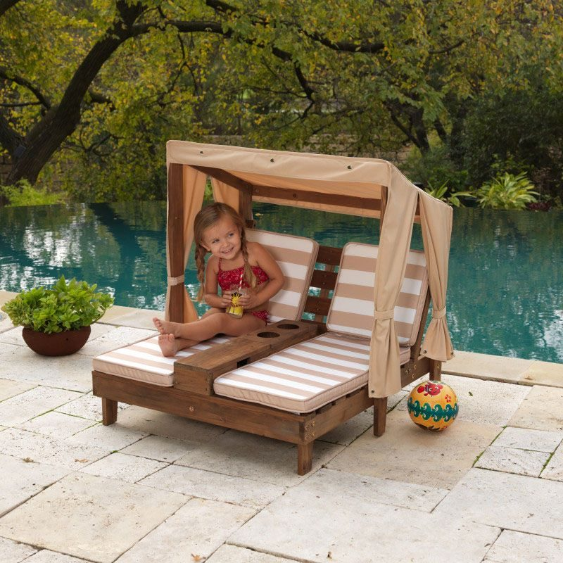 Kidkraft Espresso Oatmeal Double Chaise, Double Chaise Lounge Outdoor