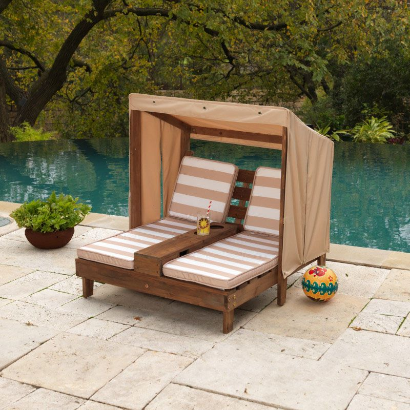 Kidkraft Double Chaise Lounge with Cupholders - Espresso ...