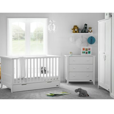Obaby Belton 3 Piece Nursery Room Set and Mattress - White