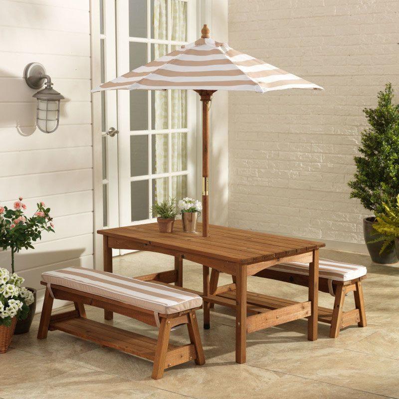 Kidkraft Outdoor Oatmeal/White Table & Bench Set