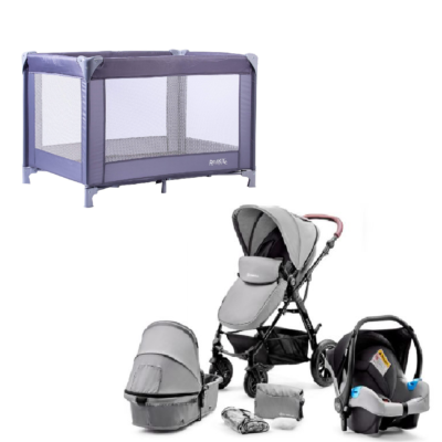 Kinderkraft Moov Grey Travel System and Travel Cot Bundle