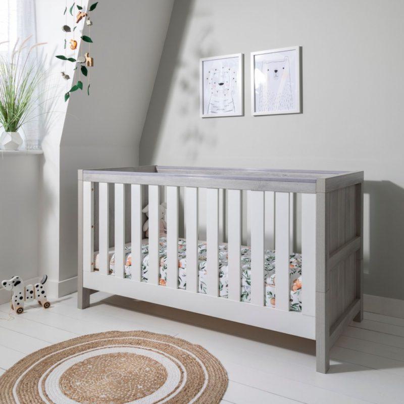 Tutti Bambini Modena Cot Bed/Mattress/Accessories - Grey Ash/White